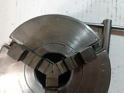 """Logan 3 Jaw 5""""Scroll chuck #536 outside jaws & key ,for 1.5 by 8  TPI spindle 24"""