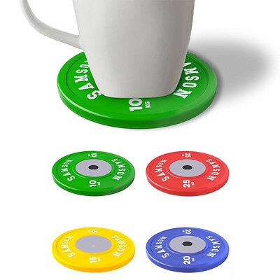 Olympic Gym Weight Plates Mug Cup Coasters Set of 4 Lifting Crossfit Fun Giftset