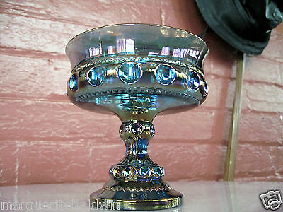 Indiana Glass Iridescent Blue Carnival Kings Crown Compote