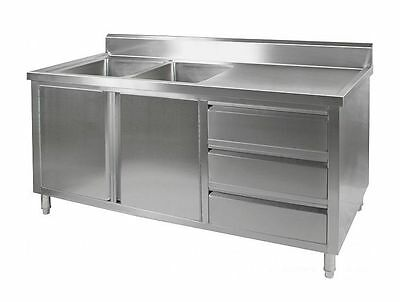 1.8M Commercial Stainless Steel Double Sink With Cupboard And Drawers Rhd