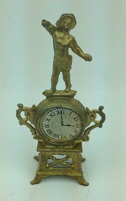 "Antique 2.5"" Doll House Gilt Metal French Mantel Clock w Statue signed Depose"