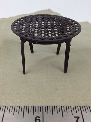 "Antique French Metal Doll House Victorian Dining Table 2.25"" across Needs Repair"