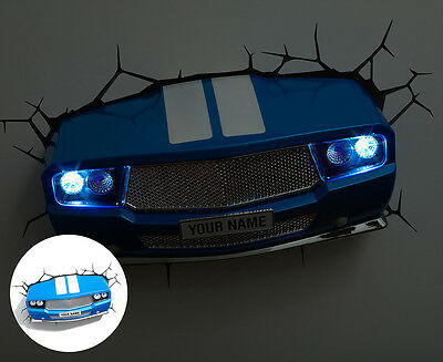 3D Classic Sports Car Wall Light - Blue