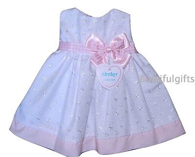 Baby Girls Traditional White/PInk Broderie Anglaise Summer Dress 6-12 Month