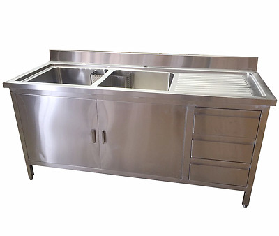 1.5M Commercial Stainless Steel Double Sink With Cupboard And Drawers Rhd