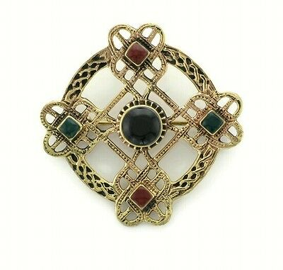Irish Bronze Celtic Cross  brooch with green and black and carnelian stones
