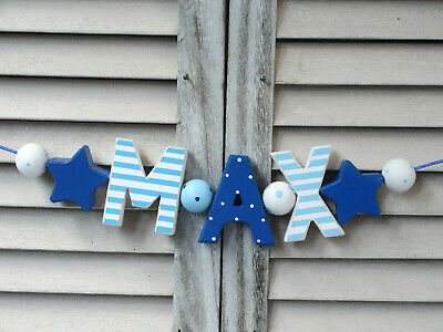 """""""max"""" Wooden Door Sign Plaque Baby Shower Gift Nursery Decor Name Personalized"""