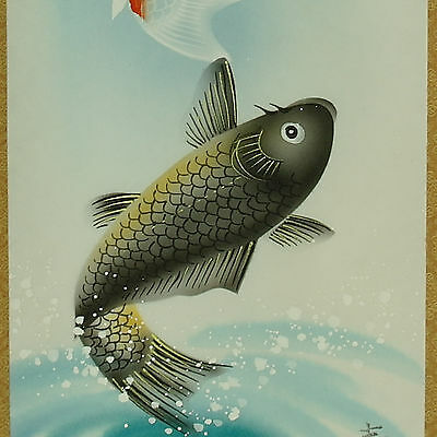 A couple of carps in the pond wall hanging scroll painting colorful drawing