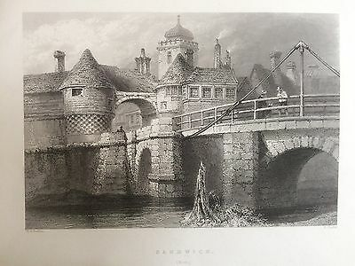 1841 Antique Print of a View of Sandwich in Kent after Bartlett