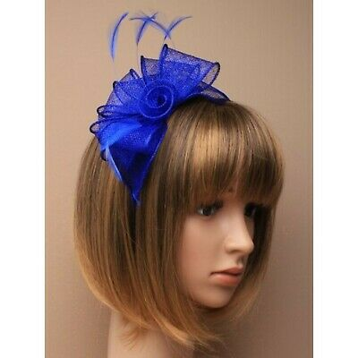 Royal blue fascinator alice hair band in sinamay with hessian rose center and...