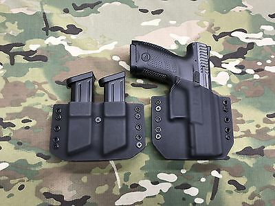 Black Kydex Holster for CZ P-10c with Matching Dual Magazine Carrier