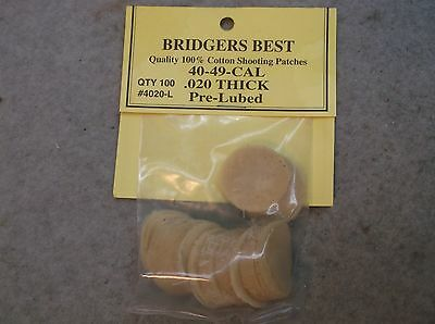 "Bridgers Best Lubed Shooting Patches 40-49 Caliber .020"" Thick Stock # 4020L"