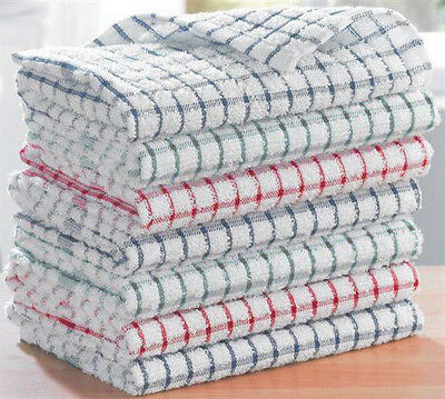 Pack 15 - Terry 100% Cotton Checked Tea Towels Dish Cloths Kitchen Cleaning Dry