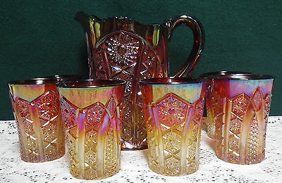 Red Amberina Imperial Heirloom Sunset Carnival Glass Pitcher & 6 Water Glasses