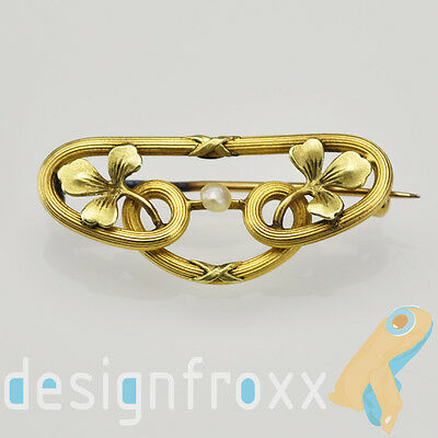 Antique French FIX Art Nouveau Brooch Pin Gold Filled with Pearl Collectible