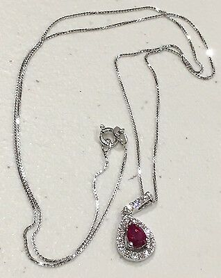 14K White Gold Necklace w/ Diamonds and Pink Gemstone- 18""