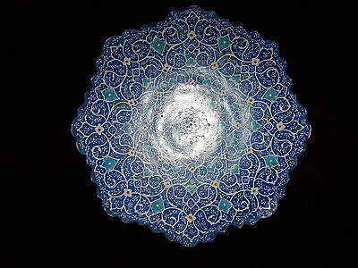 Antique Persian Hand Painted Metal Plate