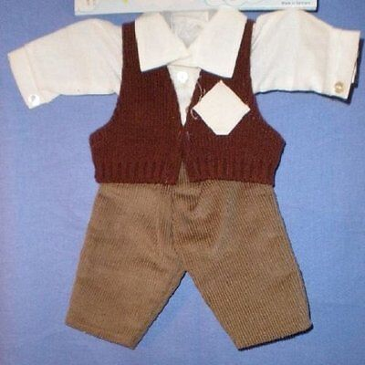 Puppenkleidungsset braun/oliv/ doll suit 3 parts brown/olive 40