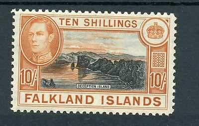 Falkland Islands 1938-50 10s black and red-orange (greyish paper) SG162b MNH