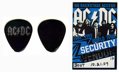 Malcolm Young -Ac/dc-2009 Black Ice Tour Stage-Used Guitar Pick & Backstage Pass