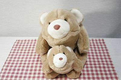"""GUND 1980 Butterscoch and White 13""""  and  8"""" Plush SNUFFLES Bear (A5)"""