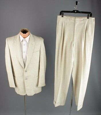 Vtg 1950s Men's Wool Gray Fleck Pattern Suit Jacket sz 36 S Pants 32x31 #3134
