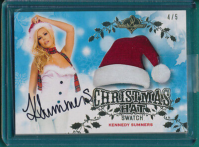 2014 Benchwarmer KENNEDY SUMMERS AUTO CHRISTMAS HAT SWATCH CARD 4/5
