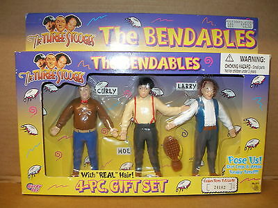 "1996 Vintage Columbia Pictures, The 3 Stooges ""THE BENDABLES"" 5"" Figs. w/ Hair"