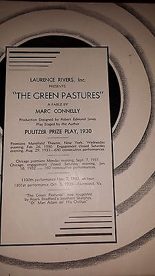 "1930 Pulitzer Prize Play Program ""the Green Pastures"" Review And Interviews"