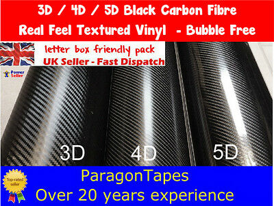 BLACK CARBON FIBRE vinyl film Bike frame Protection Tape 3D 4D & 5D Air release