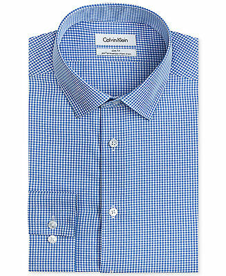 $175 CALVIN KLEIN Men SLIM-FIT WHITE BLUE CHECK BUTTON DRESS SHIRT 16.5 36/37 L