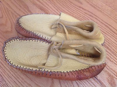 Handmade Native American Mocassins Deerskin Buffalo Buckskin Shoes Womens 7.5