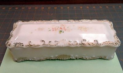 Antique Victorian Opalescent Milk Glass Roses Covered Vanity Glove Trinket Box
