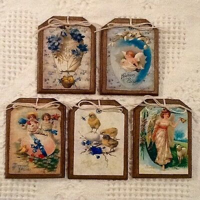 5 Wooden Handcrafted Victorian Style Easter Ornaments/EASTER Hang Tags SetO1