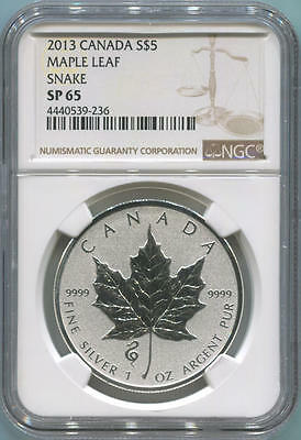 2013 Canada $5 Silver Maple Leaf, Snake Privy. NGC SP65