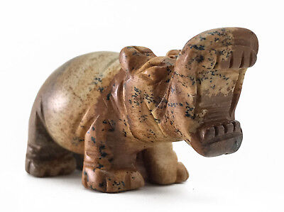 Hippo Picture Jasper Hand Carved Gemstone Animal Totem Statue Stone Sculpture