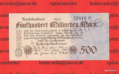 500 Mrd. Mark XF Ros.124 e Pick 127 Germany Inflation Deutschland 1923 Rarr