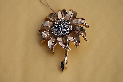 Old Vintage or Antique Pin Brooch Ornate Rhinestones Flower Gold tone Sunflower
