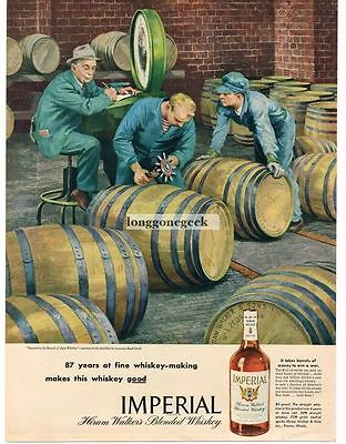 1945 Hiram Walker Imperial Whiskey Barrels Art Lawrence Beall Smith Vtg Print Ad