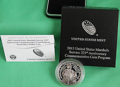 2015 US Marshals Service 225th Anniversary Proof 90% Silver Dollar Coin Box COA