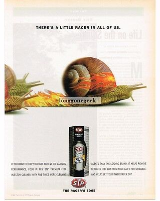 1999 STP Fuel Injection Treatment Racing Snail Flame-Painted Vtg Print Ad