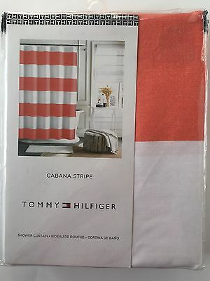 Tommy Hilfiger Cabana Stripe Fabric Shower Curtain Navy Blue White ...