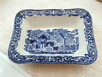 Vintage George Jones Blue And White Shredded Wheat Dish Abbey Pattern