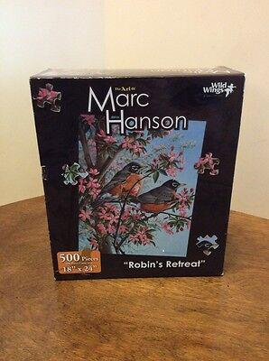 """500 Piece Puzzle The Art Of Marc Hanson  New Unopened """"Robins Retreat"""""""