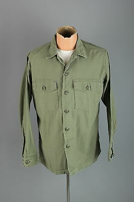 Vtg Men's Vietnam War 1969 US Army Sateen Fatigue Shirt sz L 16.5x34 #3144 60s