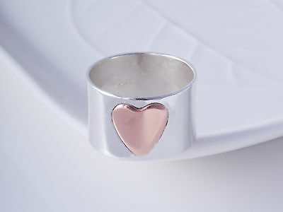 Sterling Silver & Copper Heart Band Ring 925 Choose Size Brand New