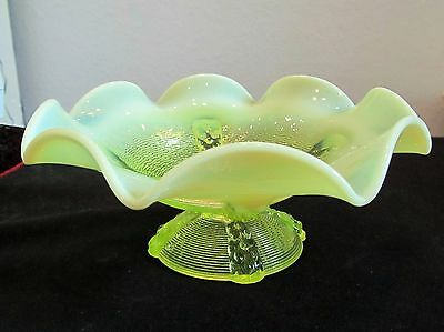 Northwood Vaseline Opalescent Button Panels Footed Compote Exc Condition