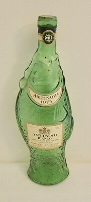 1975 ANTINORI BIANCO White Tuscany Wine, FISH-shaped GREEN GLASS BOTTLE