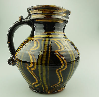 Vintage British Studio Pottery : A good large Slipware 17thC design Jug 20thC