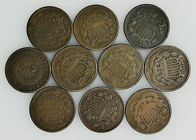 Lot of 10 Good or Better 1864, 1865, 1868 Two Cent (2c) Pieces [2951.08]